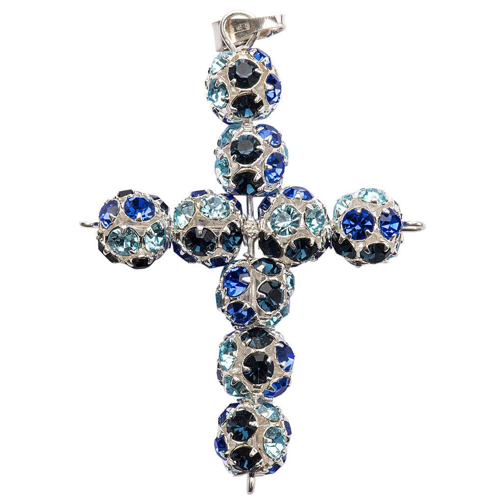 Cruz de strass multicolor azul 8mm 4