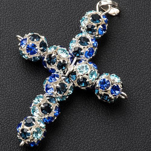 Cruz de strass multicolor azul 8mm 2