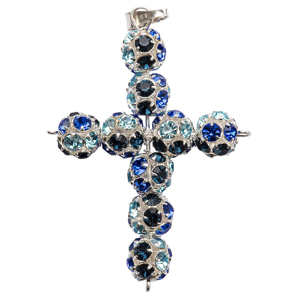 Croce Strass multicolor blu 8 mm 4