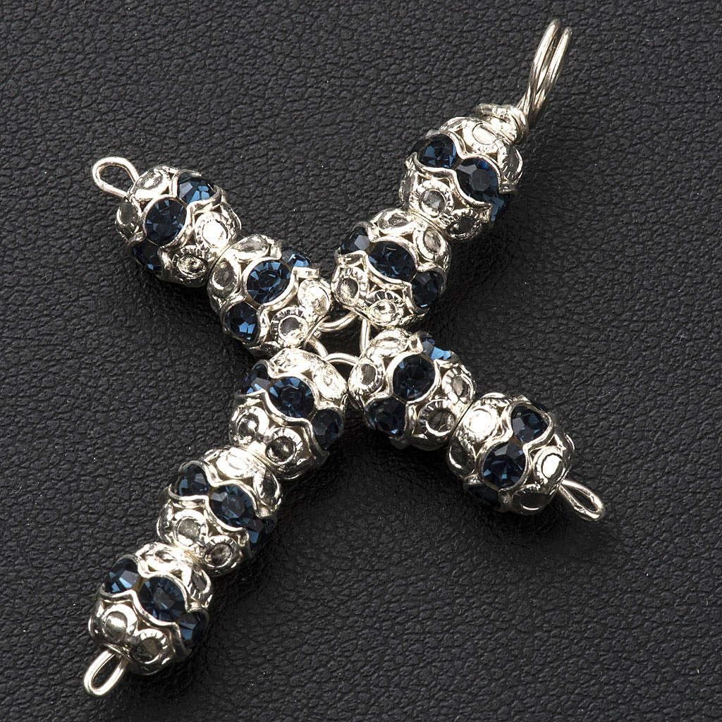 Pendant cross, blue Swarovski diam. 0,24in with split pins 4