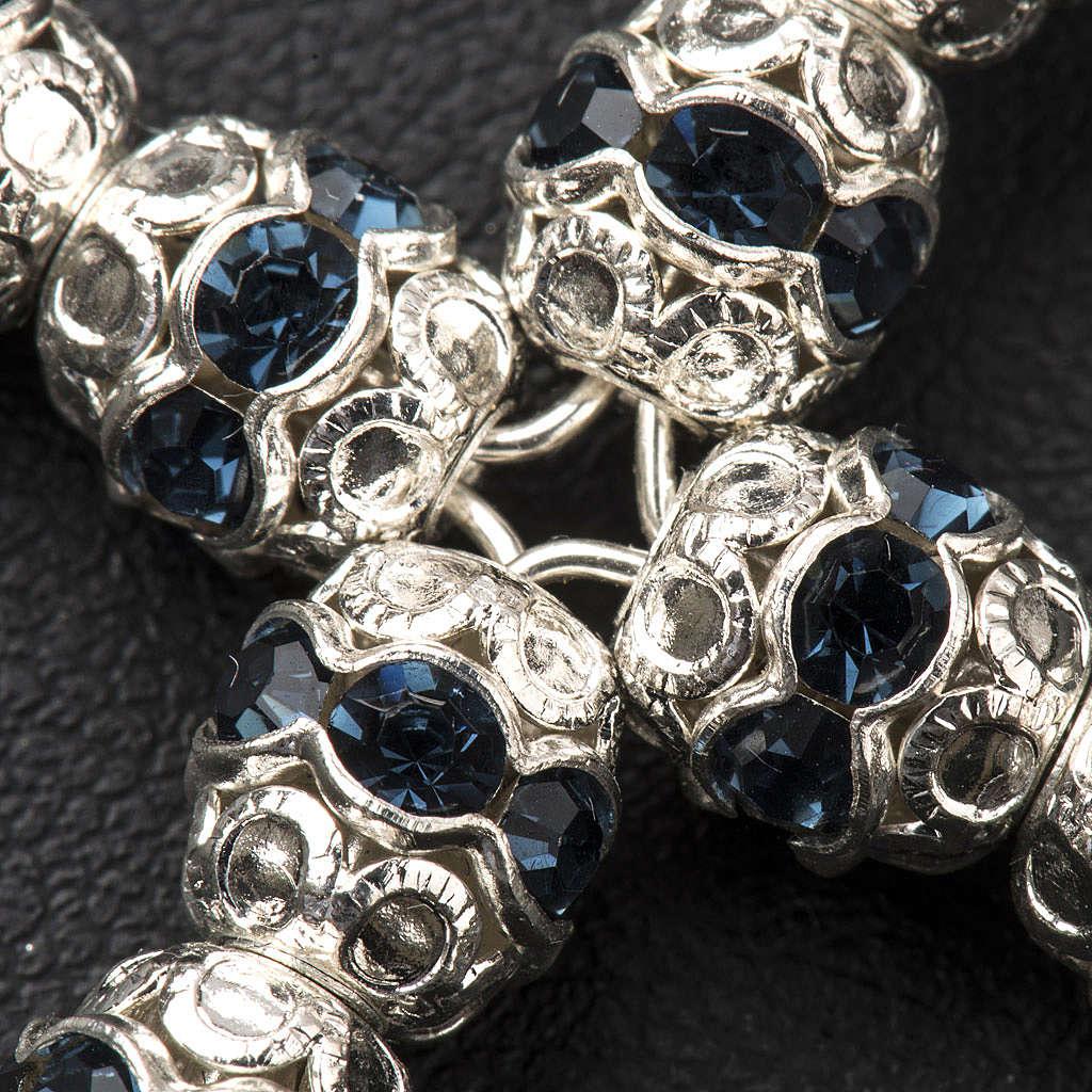 Cruz de plata con strass azul oscuro de 6mm 4
