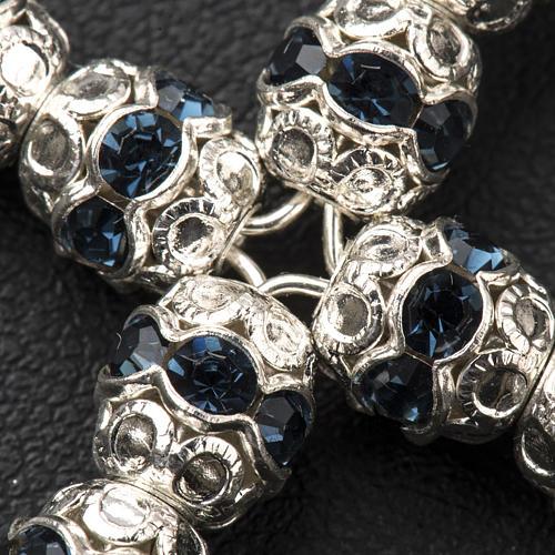 Cruz de plata con strass azul oscuro de 6mm 3