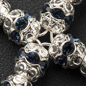 Croix argent et strass bleu 6 mm s3