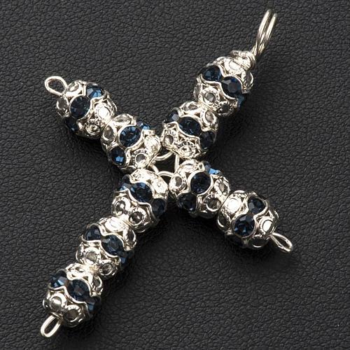 Croix argent et strass bleu 6 mm 2