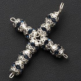 Pendant cross, blue Swarovski diam. 0,24in with split pins s2