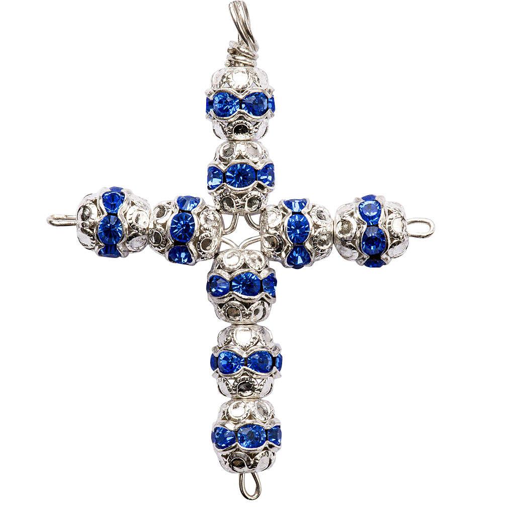 Cruz de plata y strass azul de 6mm 4