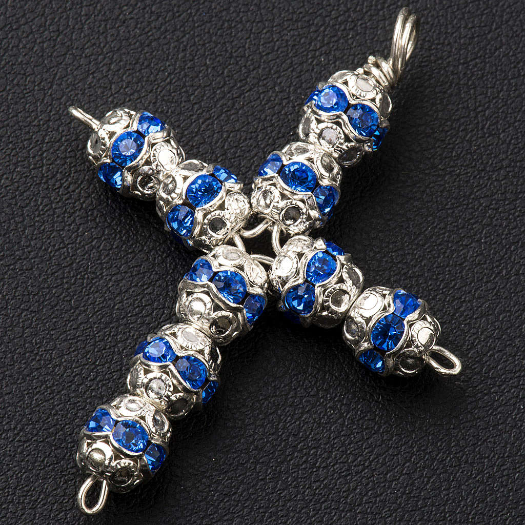 Croix argent et strass bleu ciel 6 mm 4