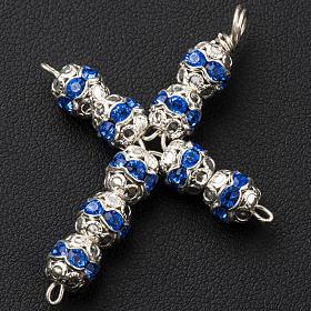 Croix argent et strass bleu ciel 6 mm s2