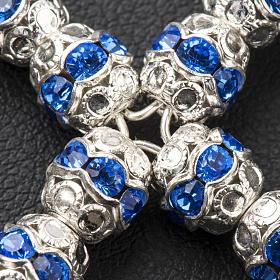 Croix argent et strass bleu ciel 6 mm s3