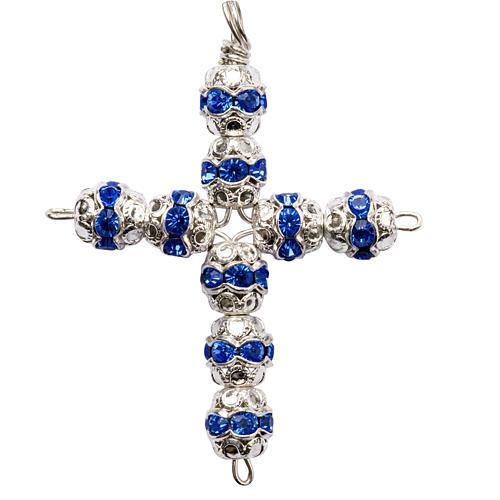 Croix argent et strass bleu ciel 6 mm 1