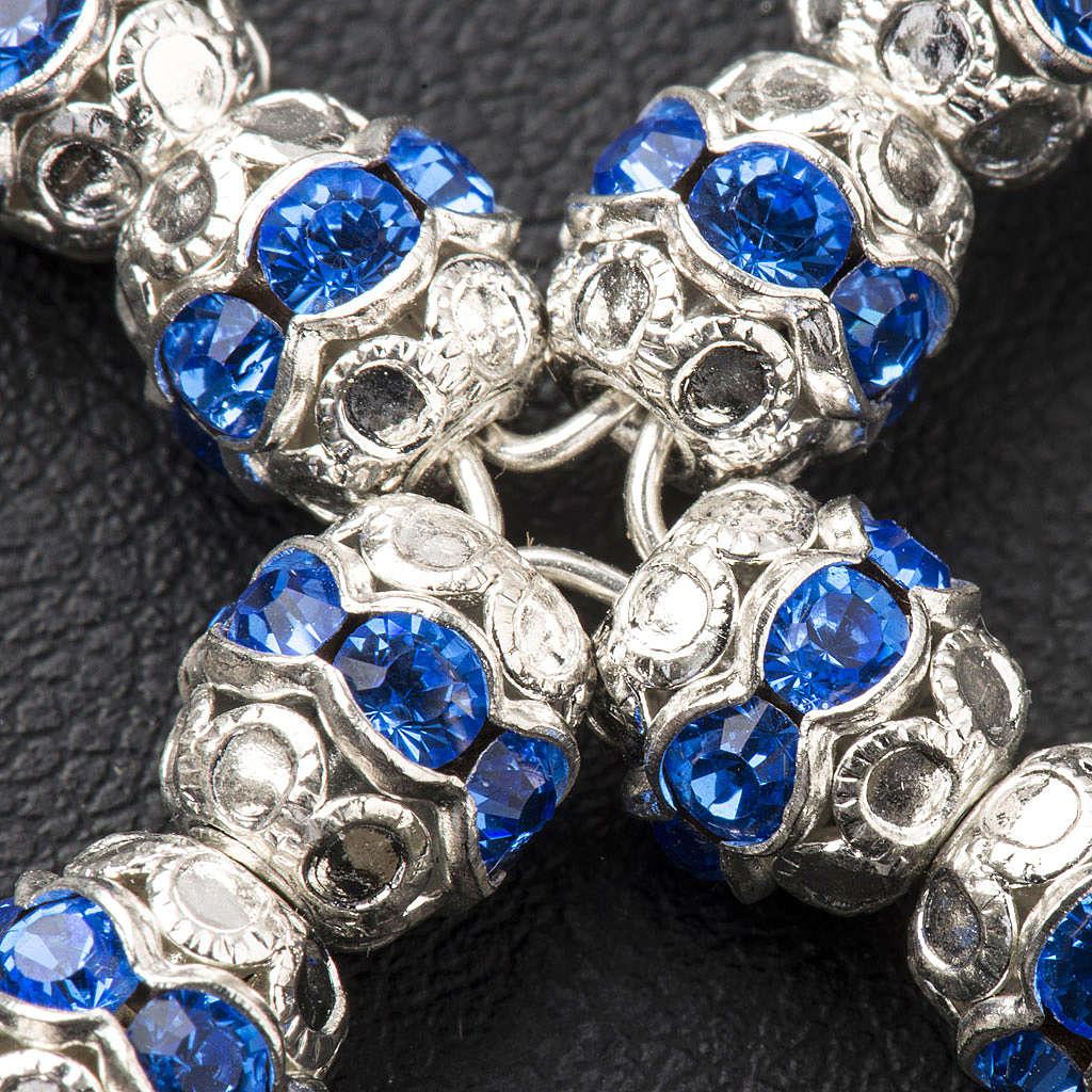 Krzyżyk srebro i strass błękitny 6 mm 4