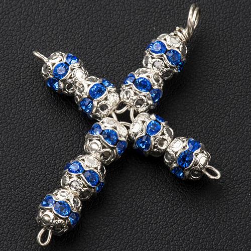 Krzyżyk srebro i strass błękitny 6 mm 2