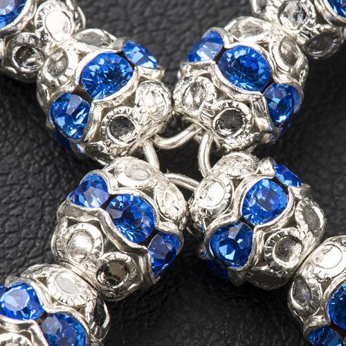 Krzyżyk srebro i strass błękitny 6 mm 3