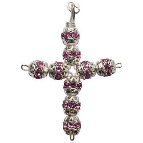 Pendant cross, pink Swarovski diam. 0,24in with split pins s1