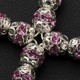 Pendant cross, pink Swarovski diam. 0,24in with split pins s3