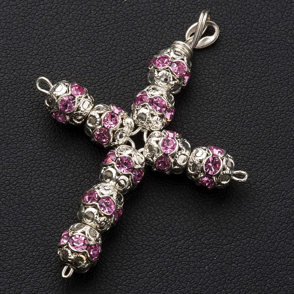 Cruz de plata y straas rosado de 6mm 4