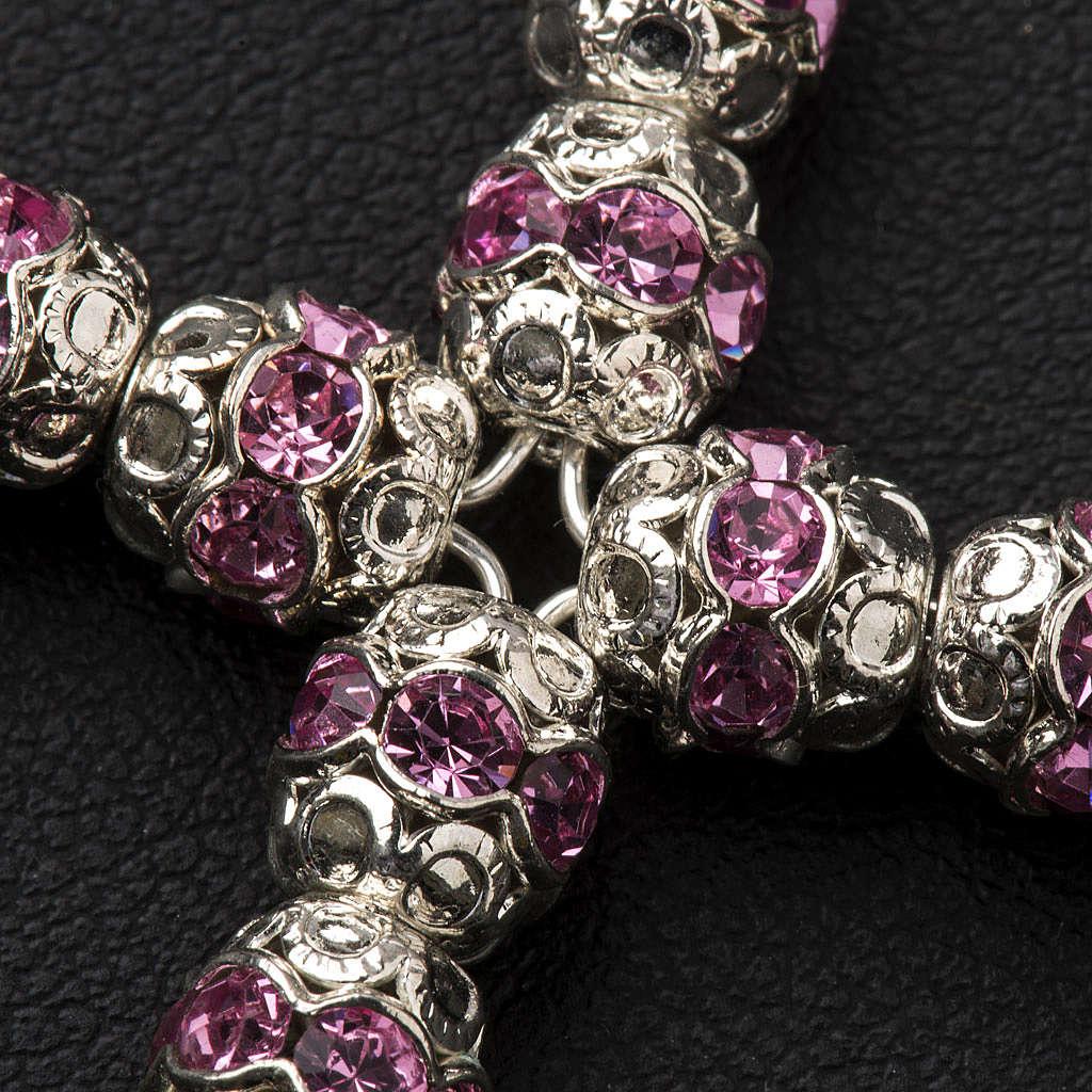 Croce argento e strass rosa coppiglie 6 mm 4