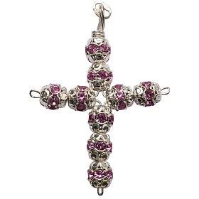 Croce argento e strass rosa coppiglie 6 mm s1