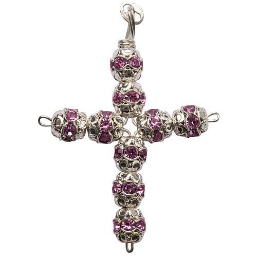Croce argento e strass rosa coppiglie 6 mm 1