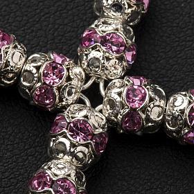 Cruz prata e strass cor-de-rosa 6 mm s3