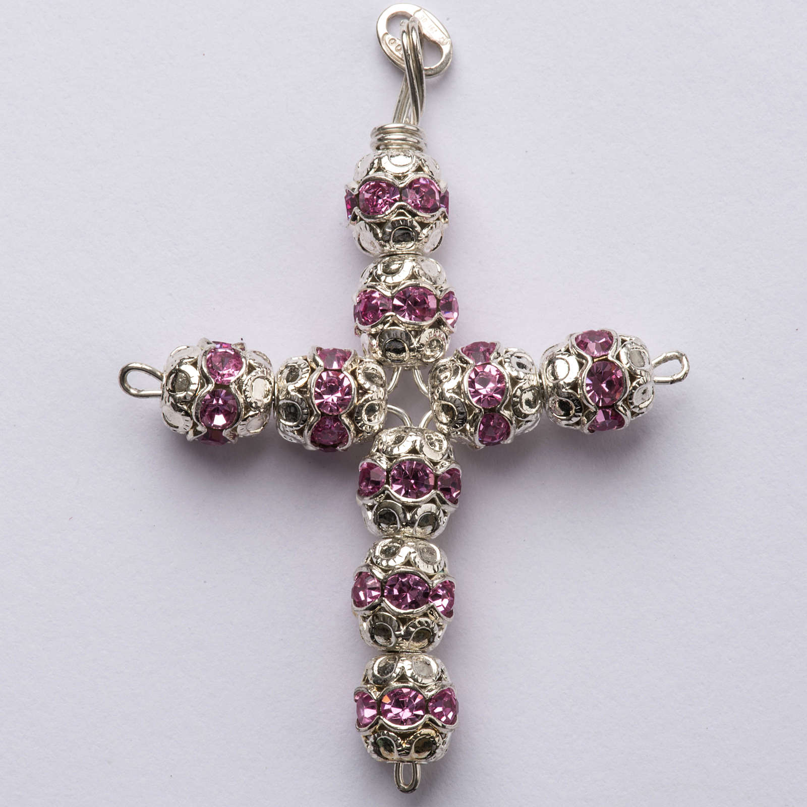 Pendant cross, pink Swarovski diam. 0,24in with split pins 4