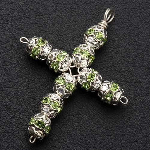 Pendant cross, green Swarovski diam. 0,24in with split pins 2