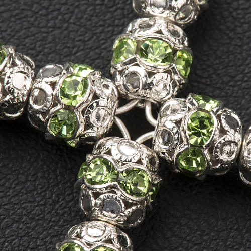 Croix argent et strass vert 6 mm 3