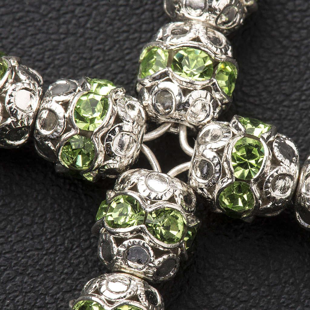 Croce argento e strass verde coppiglie 6 mm 4