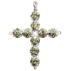 Croce argento e strass verde coppiglie 6 mm s1