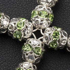 Krzyżyk srebro i strass zielony zawleczki 6 mm s3