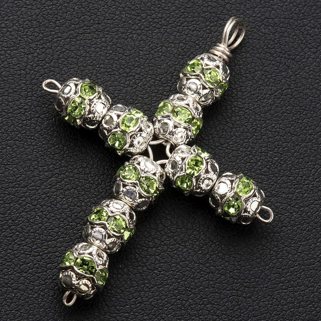 Pendant cross, green Swarovski diam. 0,24in with split pins 4