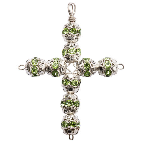 Pendant cross, green Swarovski diam. 0,24in with split pins 1