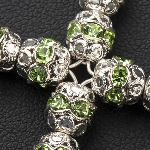 Pendant cross, green Swarovski diam. 0,24in with split pins 3