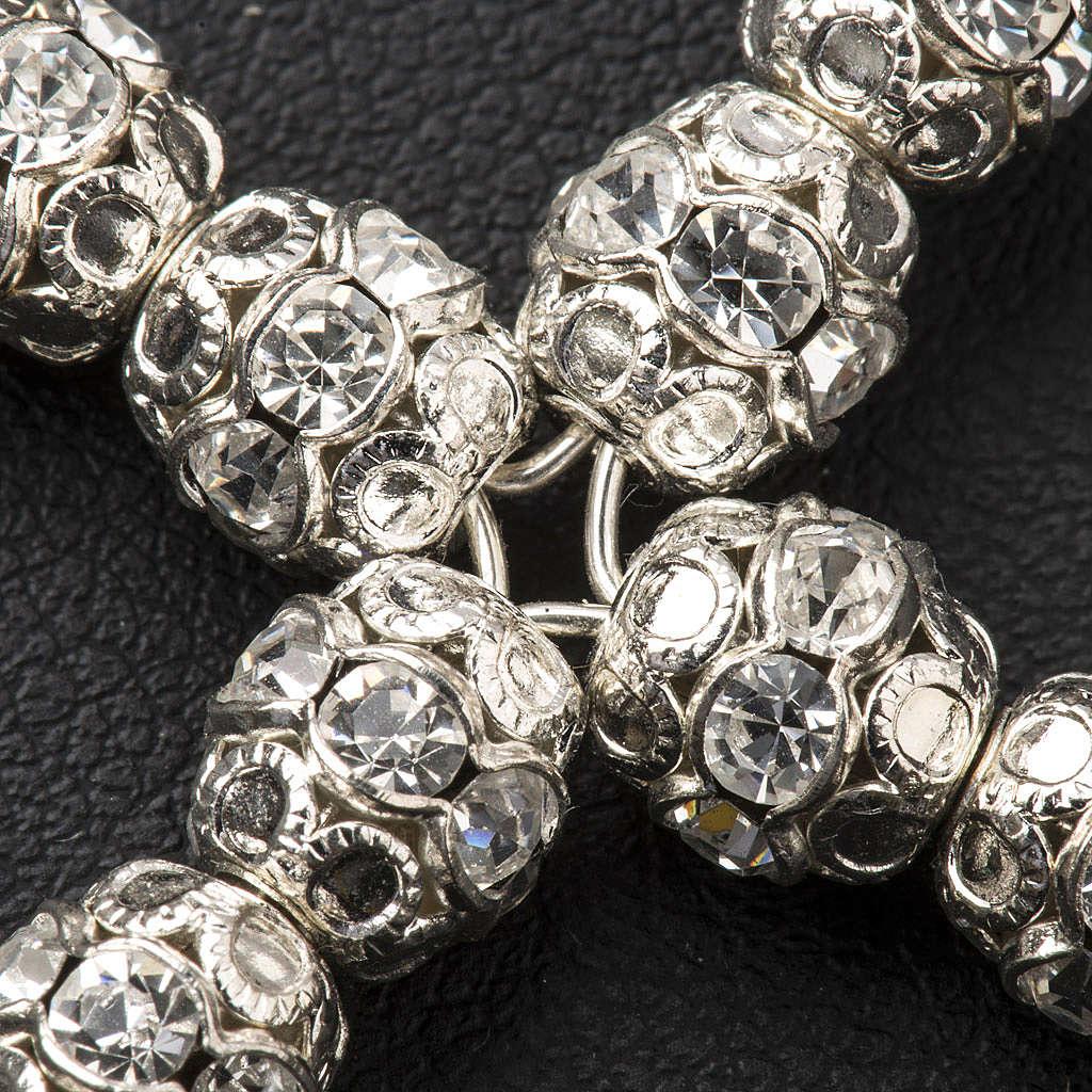 Cruz prata e strass transparente 6 mm 4