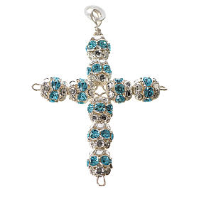 Pendant cross, sky blue Swarovski diam. 0,24in with split pins s1
