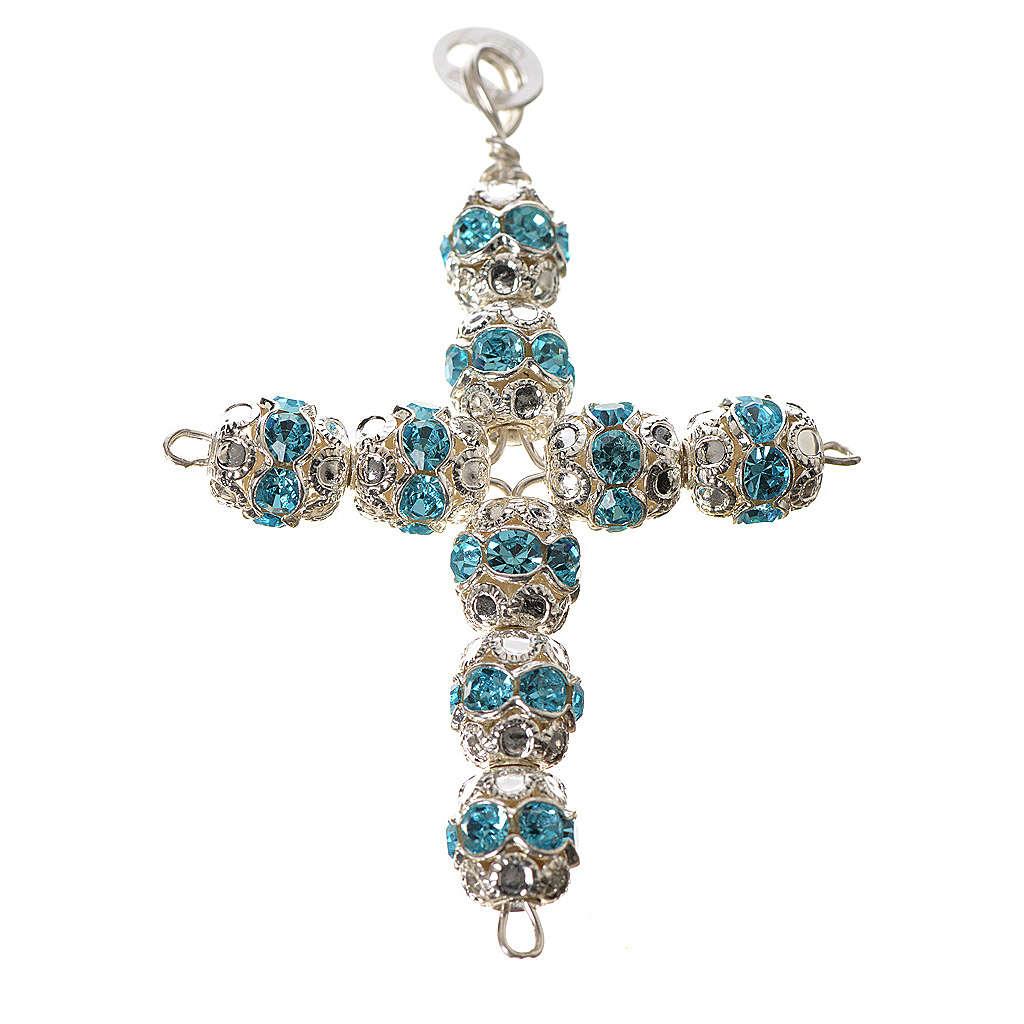 Cruz de plata con strass azul celeste 4