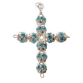 Cruz de plata con strass azul celeste s1