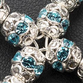 Cruz de plata con strass azul celeste s3