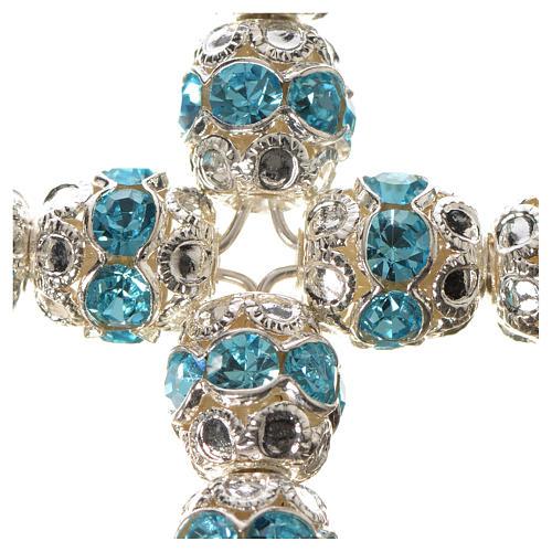 Cruz de plata con strass azul celeste 5