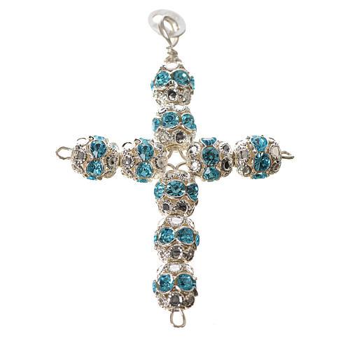 Cruz de plata con strass azul celeste 1