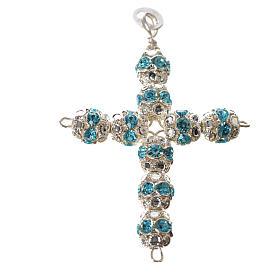 Krzyżyk srebro i strass błękitny zawleczki s4