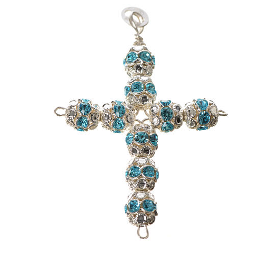 Cruz prata e strass azul-celeste 4
