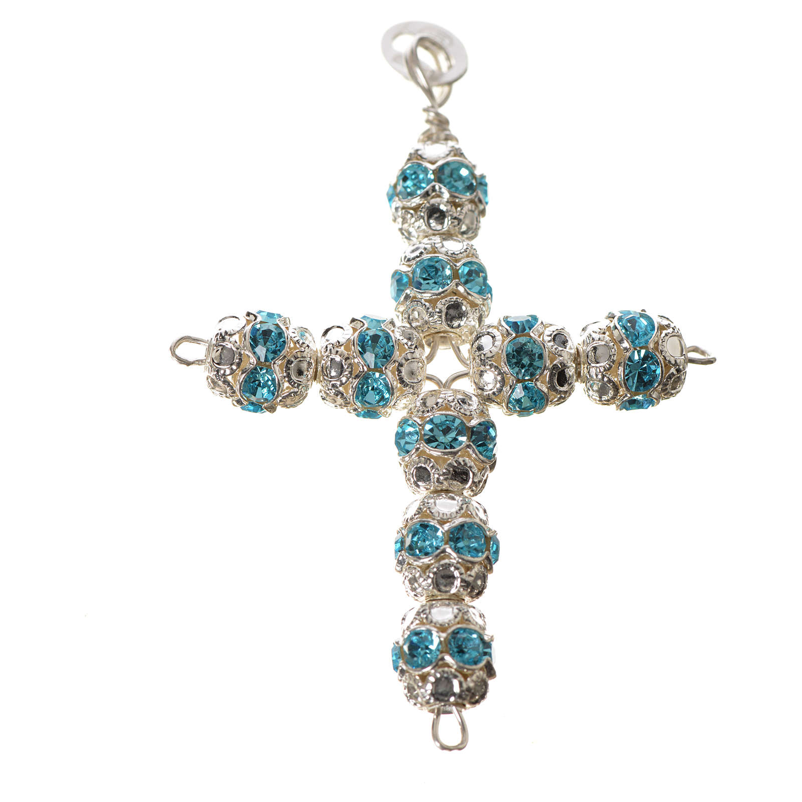 Pendant cross, sky blue Swarovski diam. 0,24in with split pins 4