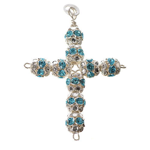 Pendant cross, sky blue Swarovski diam. 0,24in with split pins 1