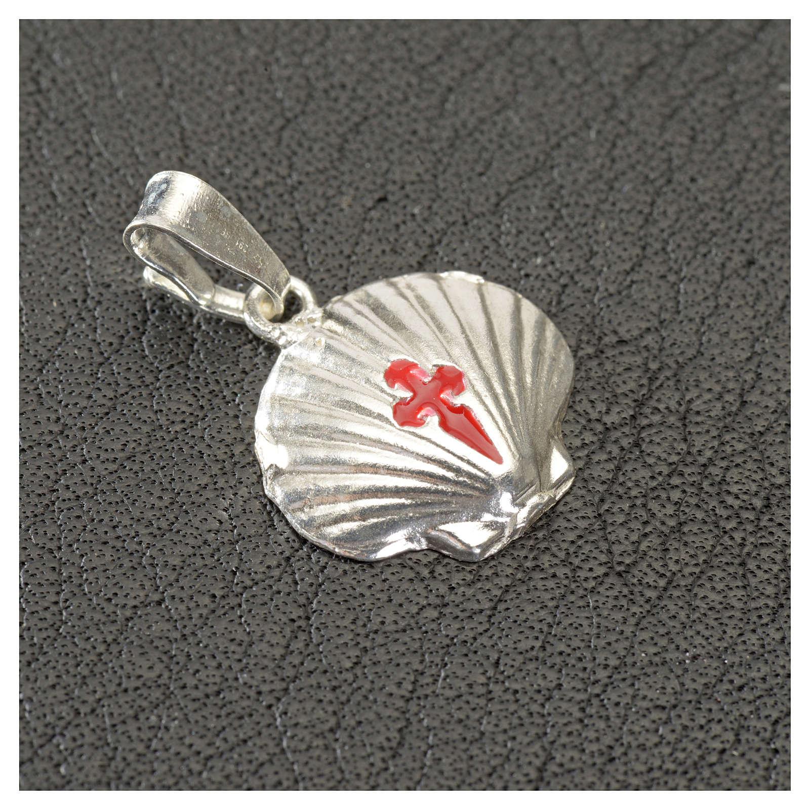 Ciondolo medaglia argento 925 conchiglia Santiago de Compostela 4