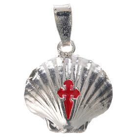Ciondolo medaglia argento 925 conchiglia Santiago de Compostela s5
