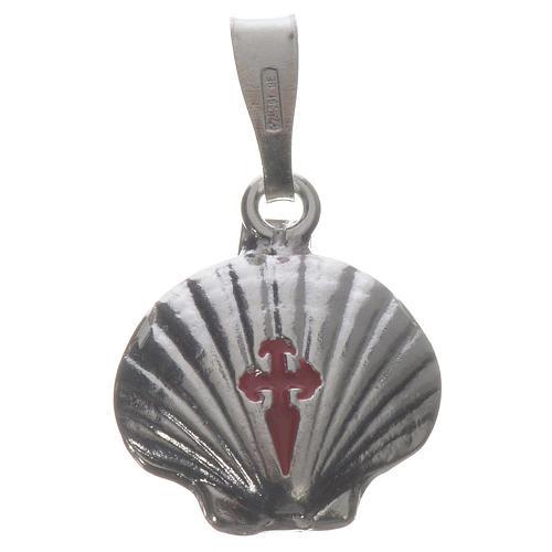 Ciondolo medaglia argento 925 conchiglia Santiago de Compostela 1
