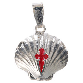 Pingente medalha prata 925 concha Santiago de Compostela s5