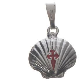 Pingente medalha prata 925 concha Santiago de Compostela s7