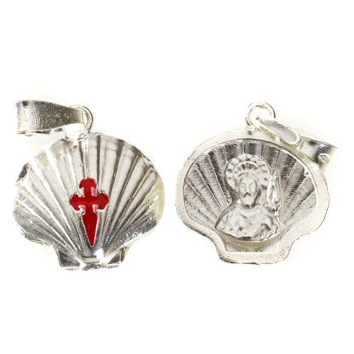 Pingente medalha prata 925 concha Santiago de Compostela 3